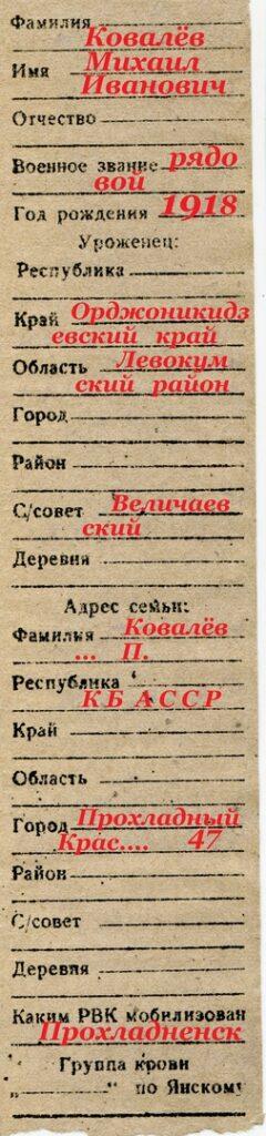 Личный опознавалетльный знак Ковалева М.И.