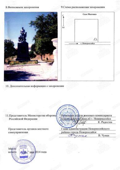 Учетная карточка воинского захоронения стр 2