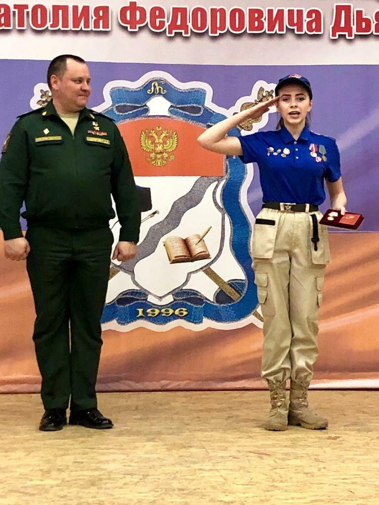 Вручение медали «За Юнармейскую Доблесть» I степени юнармейцу Ивановой Татьяне