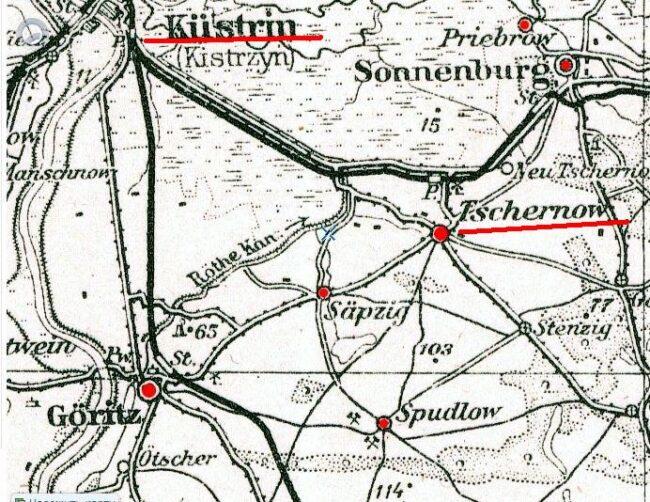 Кюстрин и Чернов на карте