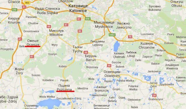 ОЖЕШЕи ПШИНА на карте Польши