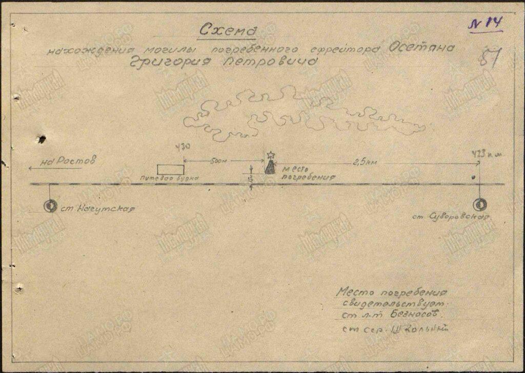 Схема временного захоронения Г.П. Осетяна