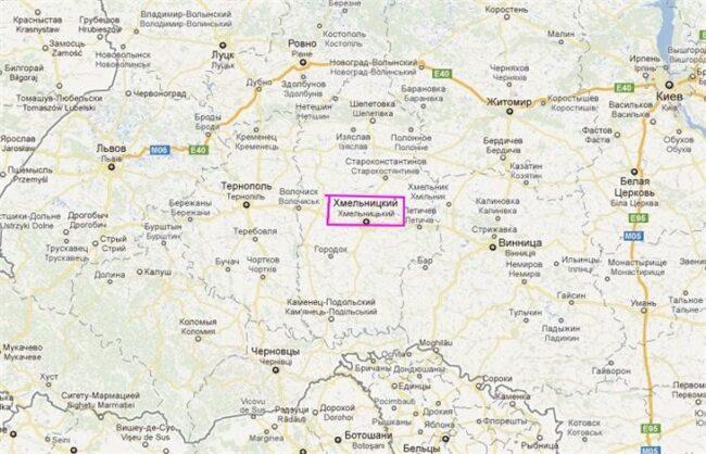 г. Хмельницкий на карте Украины